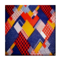 Background Fabric Multicolored Patterns Tile Coasters by Nexatart