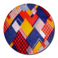 Background Fabric Multicolored Patterns Round Mousepads by Nexatart