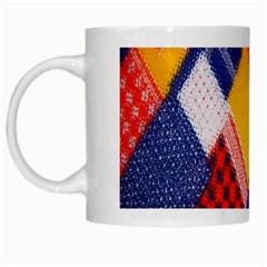 Background Fabric Multicolored Patterns White Mugs