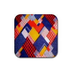 Background Fabric Multicolored Patterns Rubber Coaster (square)  by Nexatart
