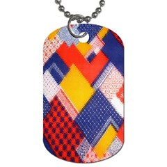 Background Fabric Multicolored Patterns Dog Tag (one Side) by Nexatart