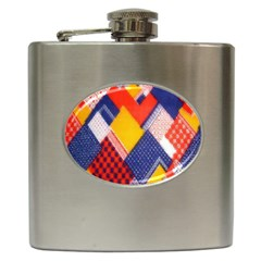 Background Fabric Multicolored Patterns Hip Flask (6 Oz) by Nexatart