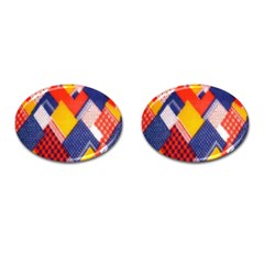 Background Fabric Multicolored Patterns Cufflinks (oval)