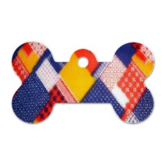 Background Fabric Multicolored Patterns Dog Tag Bone (one Side)