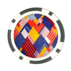 Background Fabric Multicolored Patterns Poker Chip Card Guard by Nexatart