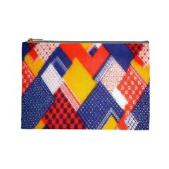 Background Fabric Multicolored Patterns Cosmetic Bag (large)