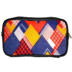 Background Fabric Multicolored Patterns Toiletries Bags 2 Side