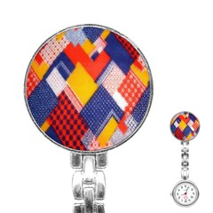 Background Fabric Multicolored Patterns Stainless Steel Nurses Watch