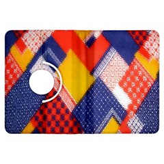 Background Fabric Multicolored Patterns Kindle Fire Hdx Flip 360 Case by Nexatart