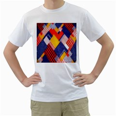 Background Fabric Multicolored Patterns Men s T Shirt (white)