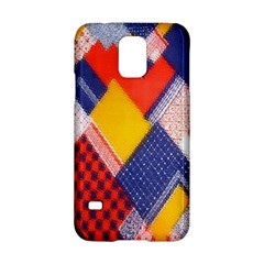 Background Fabric Multicolored Patterns Samsung Galaxy S5 Hardshell Case  by Nexatart