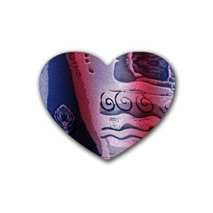 Background Fabric Patterned Blue White And Red Rubber Coaster (heart)