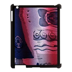 Background Fabric Patterned Blue White And Red Apple Ipad 3/4 Case (black)