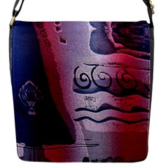 Background Fabric Patterned Blue White And Red Flap Messenger Bag (s)