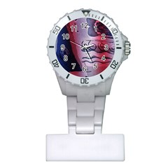 Background Fabric Patterned Blue White And Red Plastic Nurses Watch