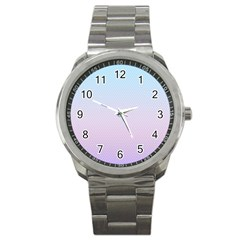 Simple Circle Dot Purple Blue Sport Metal Watch by Alisyart
