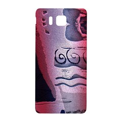 Background Fabric Patterned Blue White And Red Samsung Galaxy Alpha Hardshell Back Case by Nexatart