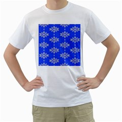 Background For Scrapbooking Or Other Snowflakes Patterns Men s T Shirt (white) (two Sided)