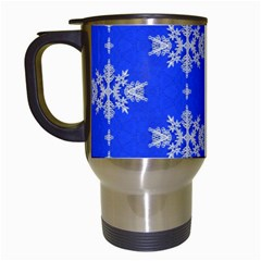 Background For Scrapbooking Or Other Snowflakes Patterns Travel Mugs (white)