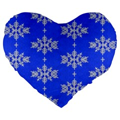 Background For Scrapbooking Or Other Snowflakes Patterns Large 19  Premium Heart Shape Cushions