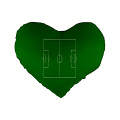 Soccer Field Football Sport Green Standard 16  Premium Flano Heart Shape Cushions by Alisyart