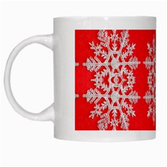 Background For Scrapbooking Or Other Stylized Snowflakes White Mugs by Nexatart