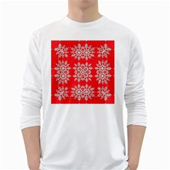 Background For Scrapbooking Or Other Stylized Snowflakes White Long Sleeve T Shirts