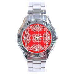 Background For Scrapbooking Or Other Stylized Snowflakes Stainless Steel Analogue Watch by Nexatart