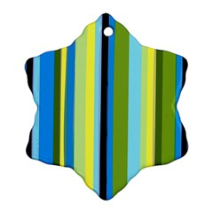 Simple Lines Rainbow Color Blue Green Yellow Black Ornament (snowflake) by Alisyart