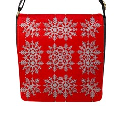 Background For Scrapbooking Or Other Stylized Snowflakes Flap Messenger Bag (l)