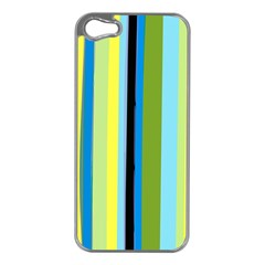 Simple Lines Rainbow Color Blue Green Yellow Black Apple Iphone 5 Case (silver) by Alisyart
