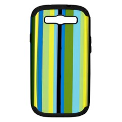 Simple Lines Rainbow Color Blue Green Yellow Black Samsung Galaxy S Iii Hardshell Case (pc+silicone)