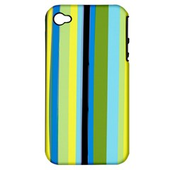 Simple Lines Rainbow Color Blue Green Yellow Black Apple Iphone 4/4s Hardshell Case (pc+silicone)