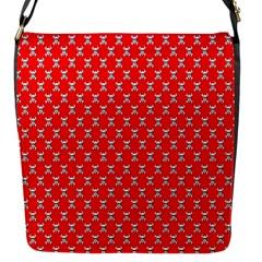 Red Skull Bone Texture Flap Messenger Bag (s) by Alisyart