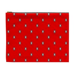 Simple Red Star Light Flower Floral Cosmetic Bag (xl)