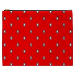Simple Red Star Light Flower Floral Cosmetic Bag (xxxl)