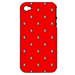 Simple Red Star Light Flower Floral Apple Iphone 4/4s Hardshell Case (pc+silicone) by Alisyart