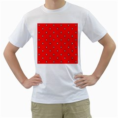Simple Red Star Light Flower Floral Men s T Shirt (white)