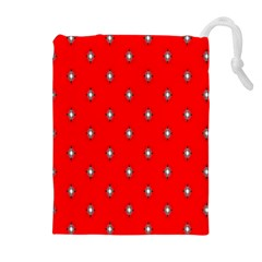 Simple Red Star Light Flower Floral Drawstring Pouches (extra Large) by Alisyart