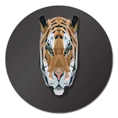 Tiger Face Animals Wild Magnet 5  (round) by Alisyart