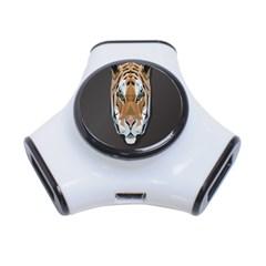 Tiger Face Animals Wild 3 Port Usb Hub