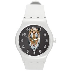 Tiger Face Animals Wild Round Plastic Sport Watch (m)