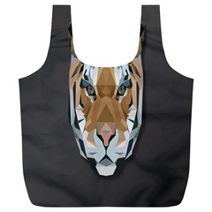 Tiger Face Animals Wild Full Print Recycle Bags (l)