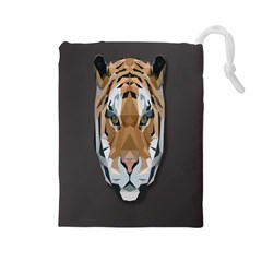 Tiger Face Animals Wild Drawstring Pouches (large)