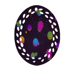 Spots Bright Rainbow Color Ornament (oval Filigree)