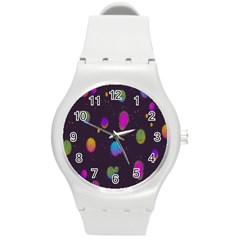 Spots Bright Rainbow Color Round Plastic Sport Watch (m)
