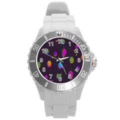 Spots Bright Rainbow Color Round Plastic Sport Watch (l)