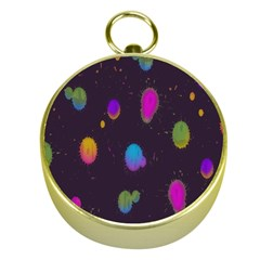 Spots Bright Rainbow Color Gold Compasses