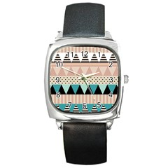 Triangle Wave Chevron Grey Square Metal Watch