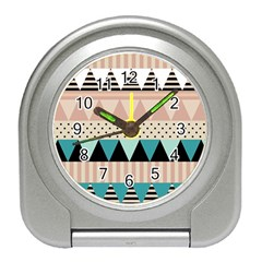 Triangle Wave Chevron Grey Travel Alarm Clocks